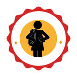 Silhouette pictogram emblem with student girl Stock Photography