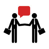 Silhouette pictogram executive men and dialog callout box Stock Images