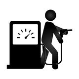 Silhouette pictogram male with fuel station Stock Images