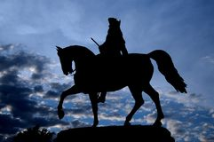 Silhouette Silhouette picture of the Equestrian Statue of George Washington in Common Park, Boston royalty free stock photography
