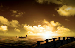 Silhouette picture fisherman nature sunset Royalty Free Stock Image