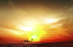 Silhouette picture fisherman nature sunset Royalty Free Stock Photography