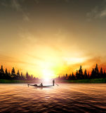 Silhouette picture fisherman nature sunset Stock Photography