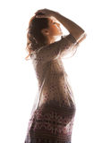 Silhouette picture of pregnant beautiful woman Royalty Free Stock Image