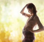 Silhouette picture of pregnant beautiful woman Royalty Free Stock Photography