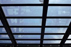 Silhouette picture of steel frame for glass roofs Stock Photography