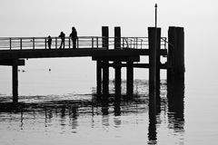 Silhouette of a pier Stock Images