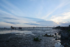 Silhouette pier at sunset. In thailand Royalty Free Stock Images