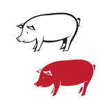 silhouette of pig Royalty Free Stock Photos