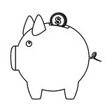 Silhouette piggy bank with dollar coin icon. Illustration Royalty Free Stock Images