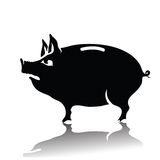 Silhouette of piggy bank Royalty Free Stock Photos