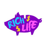 Silhouette of the piggy with color lettering text Rich life. Vector colored label Stock Photos
