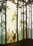 Silhouette of a pine forest with a family of deer royalty free illustration