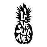 The silhouette of pineapple and lettering text I Love Summer. Vector illustration Royalty Free Stock Photo