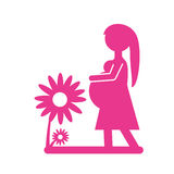 silhouette pink pregnant woman flower decoration Stock Photos