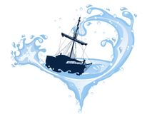 Silhouette of the pirate ship Stock Photos