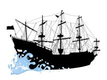 Silhouette of the pirate ship Stock Images