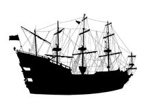 Silhouette of the pirate ship Royalty Free Stock Photography