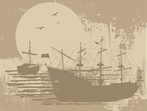 Silhouette of the pirate ships Stock Images