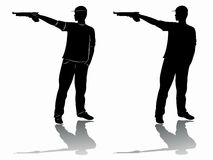 Silhouette of a pistol shooter. vector drawing Stock Image