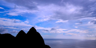Silhouette of the Pitons Stock Photo