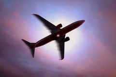 Silhouette of a plane Stock Photos