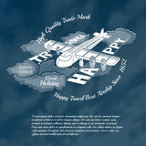 Silhouette of plane into clouds with text happy travel near wings. Stock Image