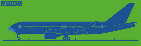 Silhouette of  plane. Isolated on green Stock Image