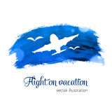 Silhouette plane on the watercolor Royalty Free Stock Image