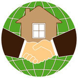 Silhouette planet and house with handshake. Silhouette eco planet and house with handshake Royalty Free Stock Photos