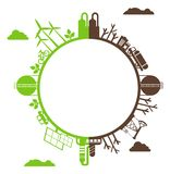 Silhouette planet polluted and environmentally friendly plants Stock Images