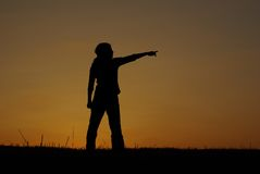 Silhouette pointing Royalty Free Stock Image