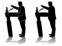 Silhouette of politician, speaker, vector draw royalty free stock photo