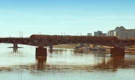 Silhouette Poniatowski Bridge over the Vistula river, Warsaw Stock Image