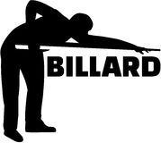 Silhouette pool player with billiards Stock Photography