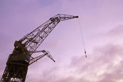 Silhouette of Port crane Royalty Free Stock Image