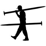 Silhouette Porter carrying the large nail in his hands, vector illustration Royalty Free Stock Image