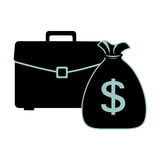 Silhouette portfolio and bag with dollar symbol Stock Photography