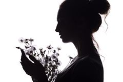 Silhouette portrait of a girl with a bouquet of dry flowers, face profile of a dreamy young woman on a white isolated background royalty free stock photos
