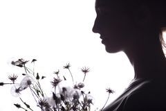 Silhouette portrait of a girl with a bouquet of dry flowers, face profile of a dreamy young woman on a white isolated background royalty free stock photography