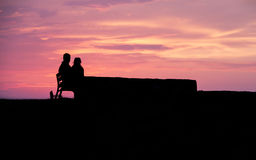 Silhouette posée de couples au coucher du soleil Images stock
