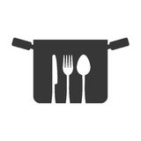 silhouette pot fork spoon knife symbol kitchen Royalty Free Stock Photography