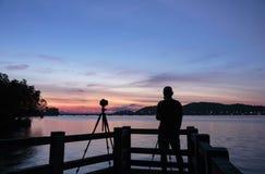 Silhouette Potographer Stock Photo