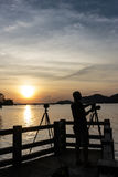 Silhouette Potographer Royalty Free Stock Images