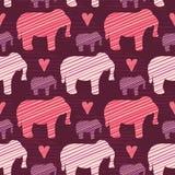 Silhouette pourpre et rose d'éléphants de bébé d'enfants illustration de vecteur
