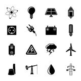 Silhouette Power and electricity industry icons Royalty Free Stock Photos