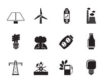 Silhouette Power, energy and electricity icons Stock Image