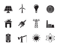 Silhouette power, energy and electricity icons Stock Photography