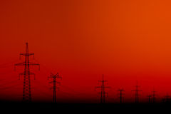 Silhouette of Power Line Royalty Free Stock Photo