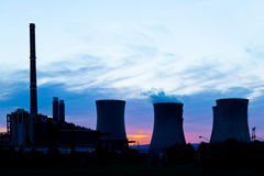 Silhouette of power plant Royalty Free Stock Images